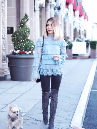 laminlouboutins blogger top jeans shoes bag fall outfits blue top blouse boots over the knee boots