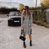 dress,printed dress,long sleeve dress,midi dress,boots,shoulder bag,sunglasses,ruffle dress