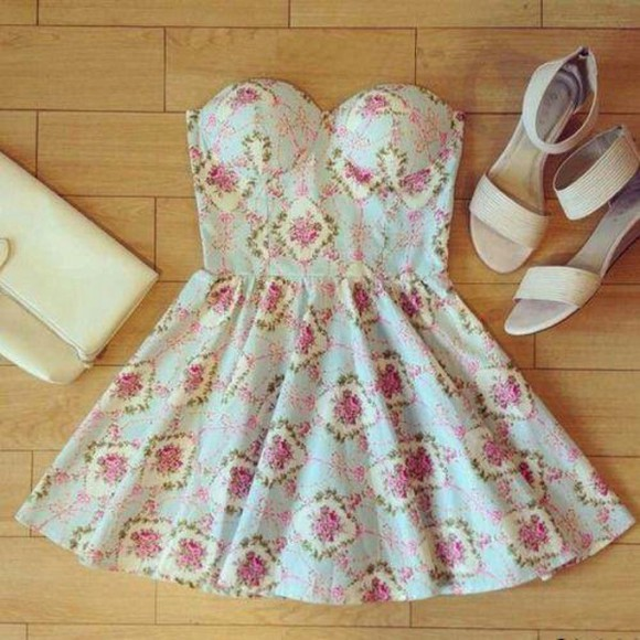 floral dress strapless dresses bandeau dress