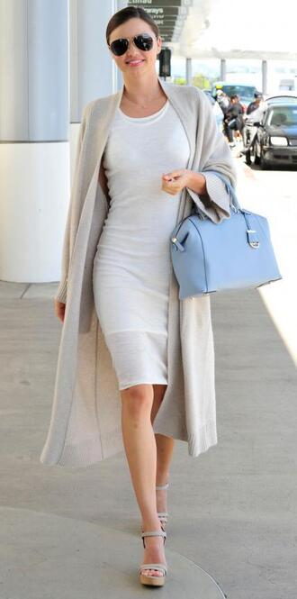 dress wedges coat bodycon dress midi dress miranda kerr spring outfits bag