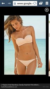 swimwear,bandeau bikini,cream,ruffle,strapless,pink,summer,bikini