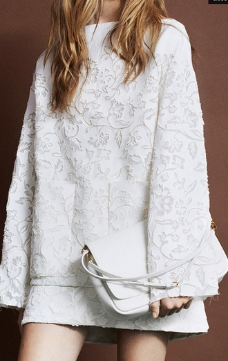 blouse clothes white skirt laser cut leaf/design oversized white sweater texture