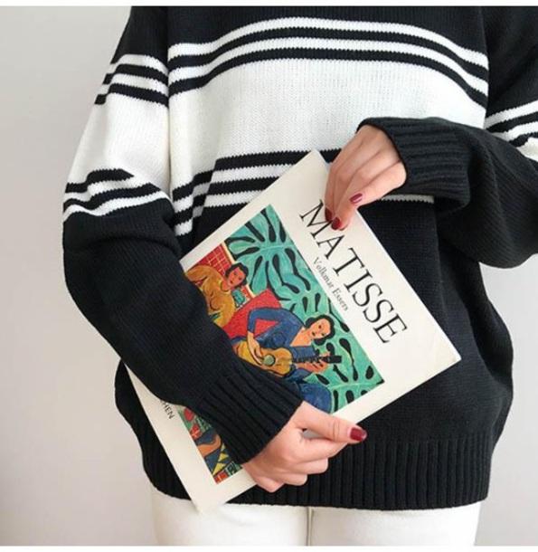sweater girly sweatshirt jumper black black and white stripes