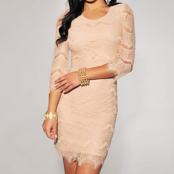 dress cream dress lacey dress short party dresses