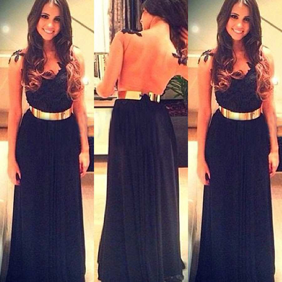 Fashion hot lace perspective long dress
