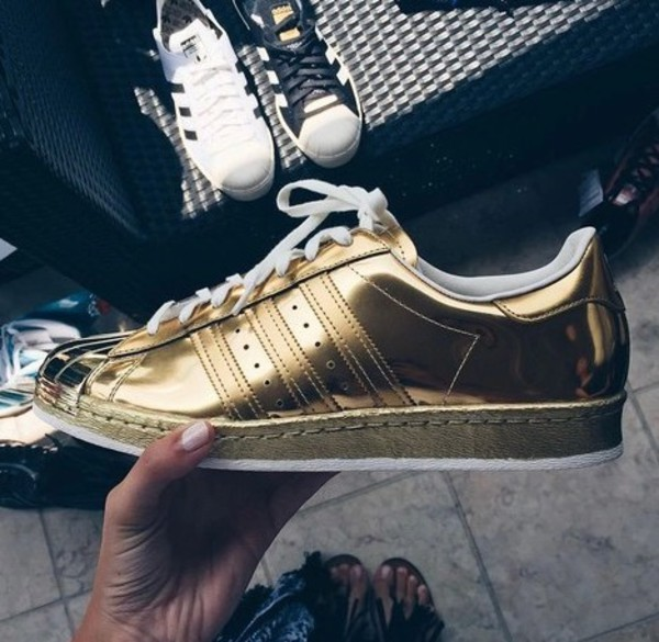 shoes, adidas, girl, women, sneakers, fashion, swag, gold ...
