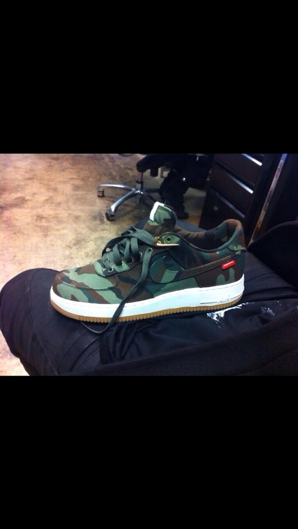 shoes nike air force 1 camouflage nike sneakers nikes millitairy basket camo airforces supreme airforces supee sneakers camouflage camo camouflage air force ones trainers sneakers