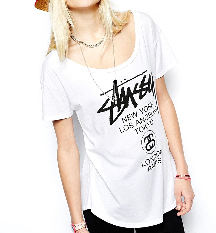 Stussy Logo Print Tee With Curved Hem