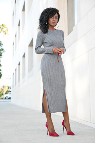 blogger dress shoes grey knit dress knitwear knitted dress midi dress midi knit dress slit dress double slit dress pumps pointed toe pumps high heel pumps red heels suede