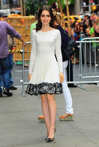 dress lily collins long sleeves