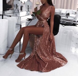 dress sequin prom dress pink dress long dress slit dress