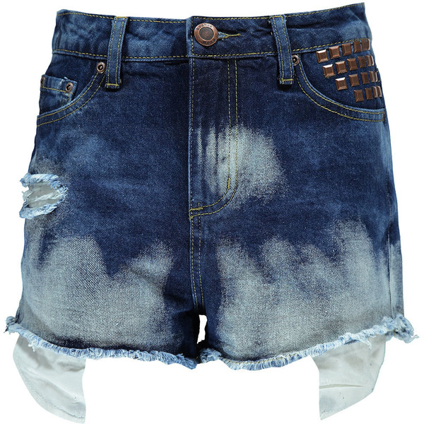Boohoo Leighton Studded Pocket Bleach Wash Denim Shorts - Polyvore