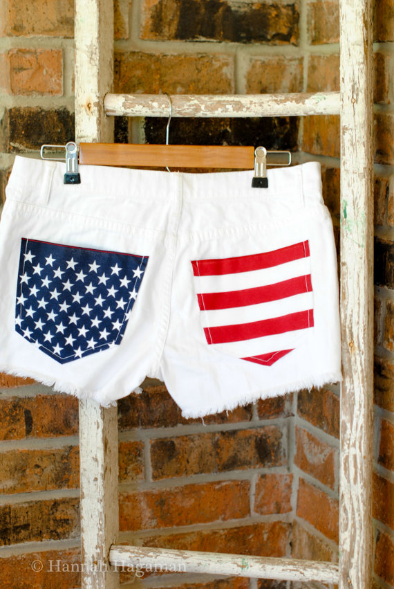 American flag distressed freedom jean shorts by lostinarttexas