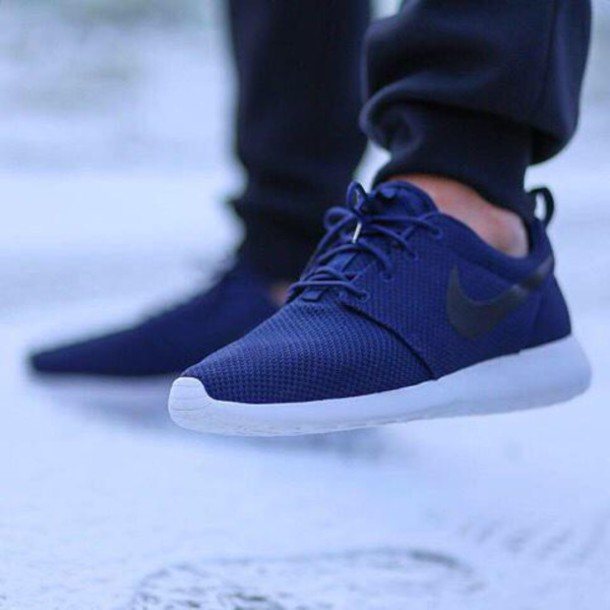 finest selection e86ca 61be4 shoes roshe runs nike running shoes nike roshe run nike roshe run blue navy  navy midnight