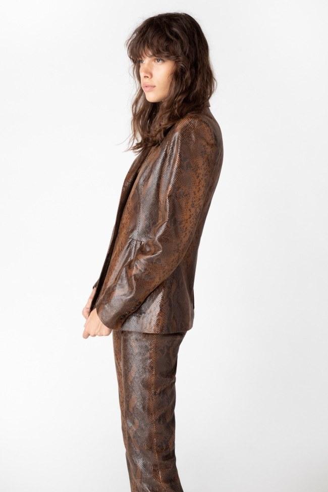 Londyn Blazer In Brown Snake Leather