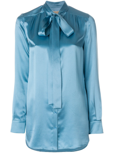 shirt women blue silk top
