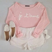 blouse,shoes,shorts,jewels,sweater,pink,je taime,pink sweater,shirt,flats,white,bows,studs,white flats,white studded flats,dress,outfit,style,pink white shoes outfit