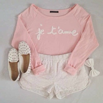 blouse shoes shorts jewels sweater pink je taime pink sweater shirt flats white bows studs white flats white studded flats dress outfit style pink white shoes outfit