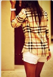 shirt,flannel shirt,burberry,blouse,plaid,top,black,white,red,clothes,chemise,wonderful