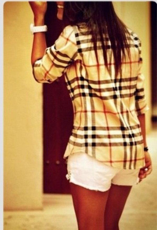 shirt flannel shirt burberry blouse plaid top black white red clothes chemise wonderful