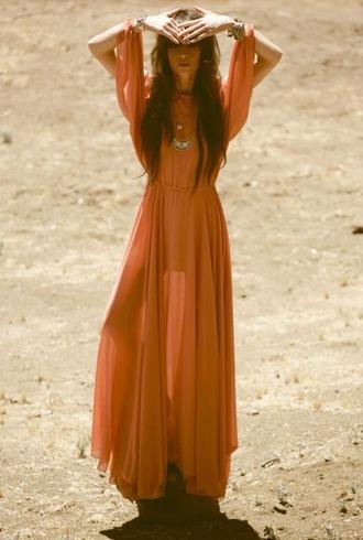 dress 70s style sheer semi sheer translucent orange orange dress