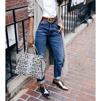 jeans tumblr denim blue jeans cuffed jeans silver shoes pointed toe flats gucci belt coat duster coat bag printed bag animal print gucci belt