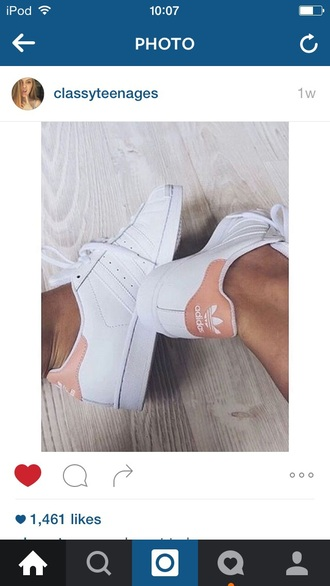shoes adidas nude white beige baby pink amazing trainers trendy fashionista tumblr