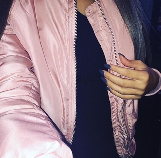 coat bomber jacket pink coat