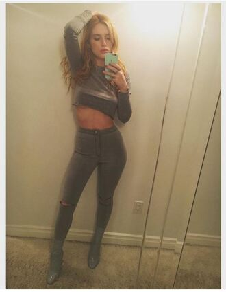 phone cover denim grey bella thorne boots crop tops instagram