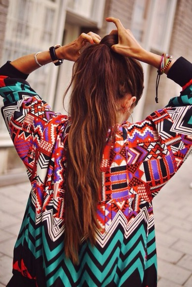 aztec jacket colorful tribal pattern bomber jacket colourful bright colored sweater coat cosy aztec sweater red pink aztec print