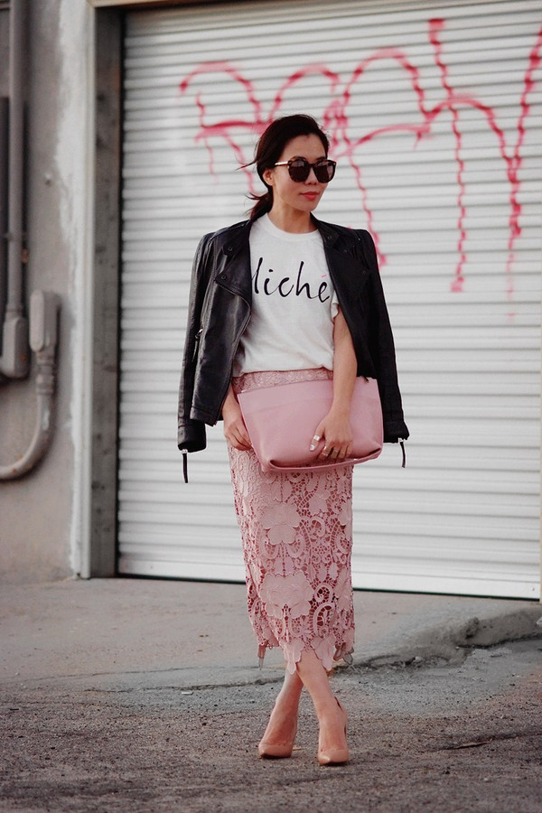 hallie daily jacket skirt t-shirt jewels shoes bag sunglasses
