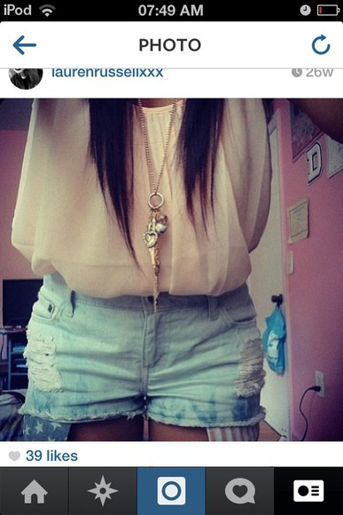 pink necklace shorts american flag shorts tumblr tumblr clothes disney blouse brunette