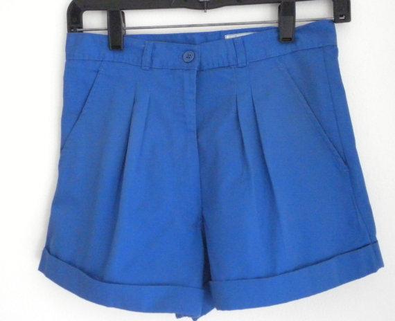 Royal Blue Shorts / High Waist Shorts / Size 6 by LUXURYLIFE