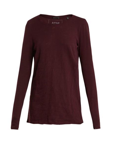ATM t-shirt shirt t-shirt cotton burgundy top