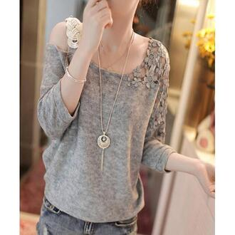 sweater crew neck knitwear 2014 fashioncasual knitwear lace one shoulder strap knitwear