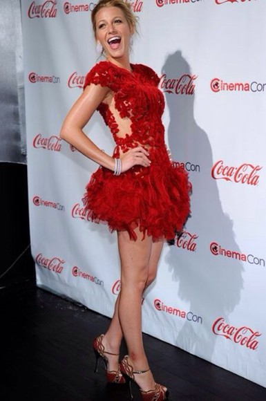 blake lively red dress feathers