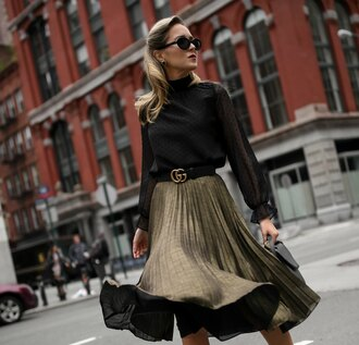 the classy cubicle blogger blouse skirt shoes belt sunglasses fall outfits gucci belt black blouse pleated skirt