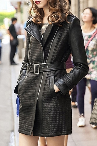 jacket coat belt fall outfits fashion style cool faux leather long sleeves