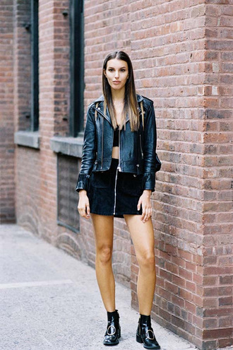 vanessa jackman blogger suede skirt leather jacket black leather jacket black top black crop top mini skirt black boots mini skirt and ankle boots