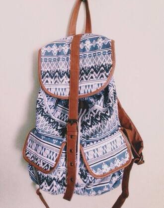 bag backpack tribal backpack tribal pattern native american school bag coloful blue
