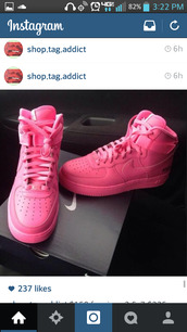 shoes,air force 1 pink,pink high top air forces,all pink air force ones