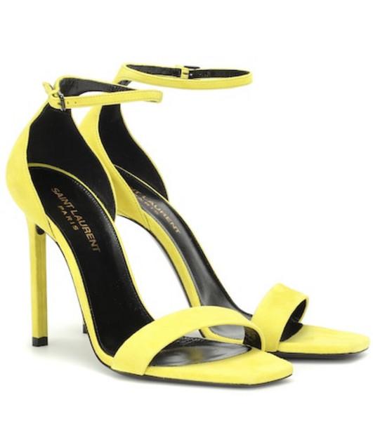 Saint Laurent Amber suede sandals in yellow
