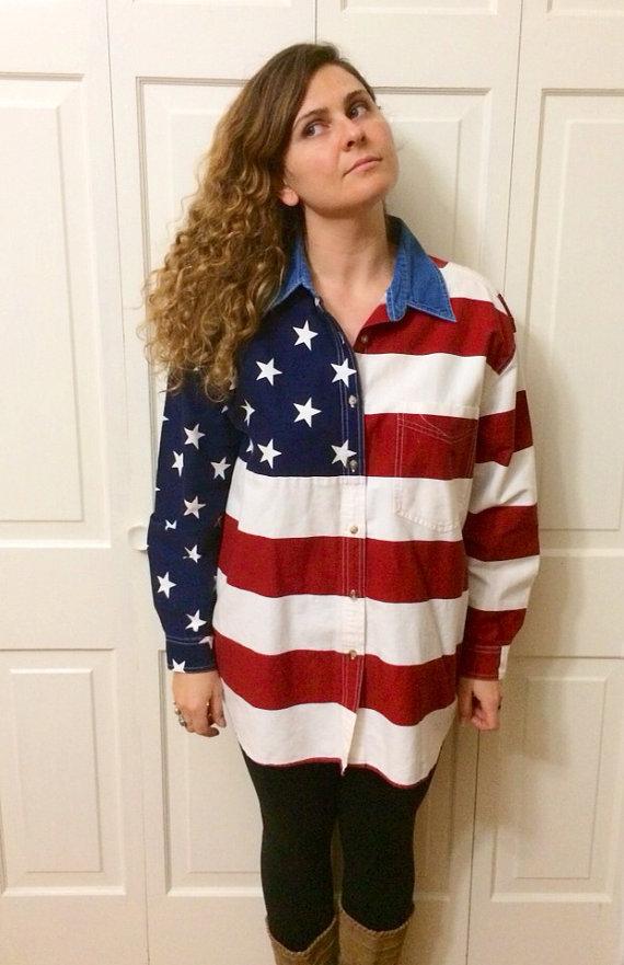 Usa flag button up shirt denim collar size l xl for Patriotic button up shirt
