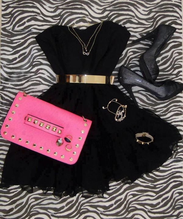 dress black little black dress pink high heels jewels belt shoes
