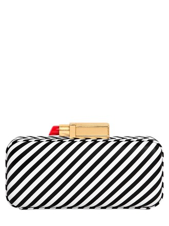 leather clutch clutch leather white black bag