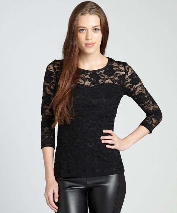 Annalee   Hope black lace sheer yoke sweetheart bodice long sleeve top | BLUEFLY up to 70% off designer brands