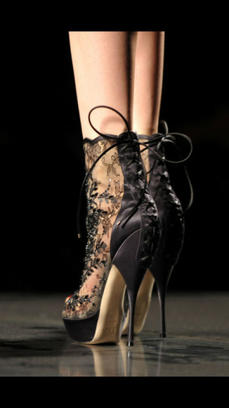 black  high heels sexy shoes lace dress lace-up shoes
