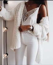 top,white lace trim deep plunge cami top,cardigan,white,chunky,knitwear