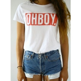 t-shirt oh boy shirt red white top tshirt design ohboy ohboy t shirt ohboy shirt womens ohboy shirt shirt obey quote on it crop tops tees tumblr tumblr shirt vogue chanel boho bohemian summer summer outfits dress outfit tumblr style pale grunge vintage hipster interent