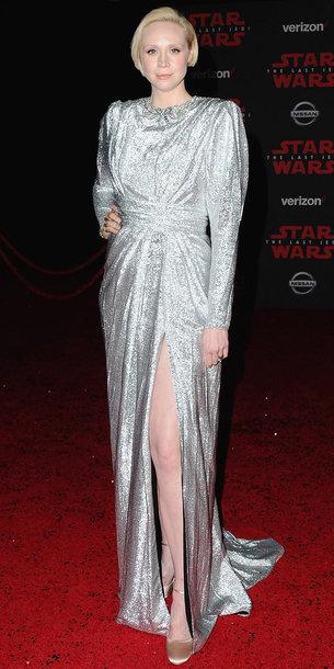 dress gwendoline christie plus size silver slit dress long dress red carpet dress